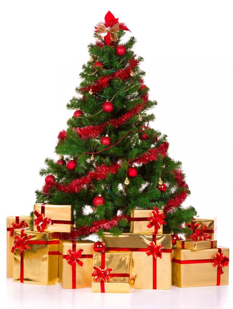 Christmas-Tree-Decorations-Ideas-with-Gifts-and-Red-Ribbon
